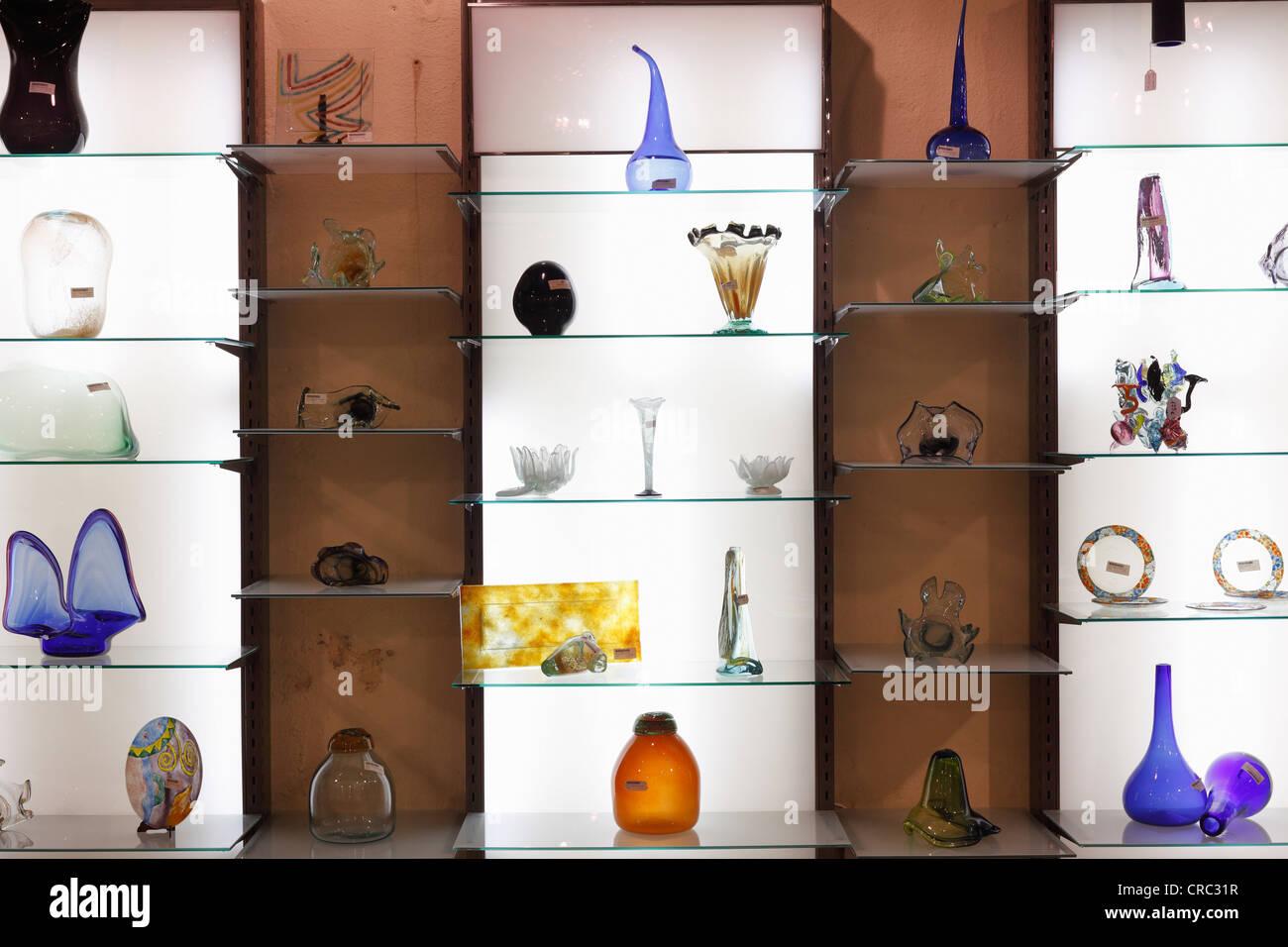 Showroom of Menestralia blown glass in Campanet, Majorca, Balearic Islands, Spain, Europe - Stock Image