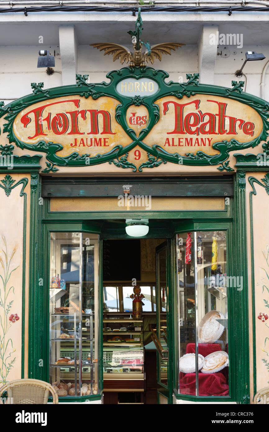 Art Nouveau facade of Forn des Teatre pastry shop, Palma de Majorca, Majorca, Balearic Islands, Spain, Europe - Stock Image