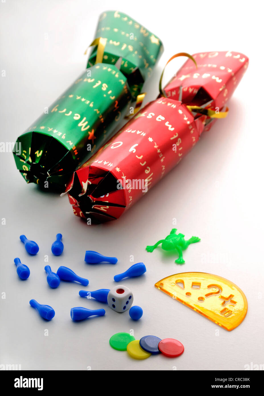 Christmas Crackers Contents.Christmas Crackers And Their Contents Stock Photo 48823843