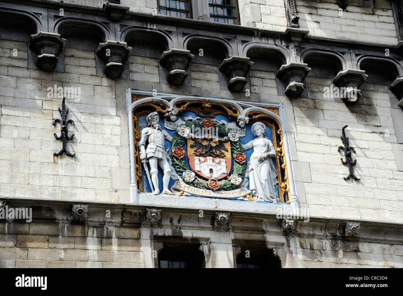 Medieval facade with coat of arms, museum and fortress Het Steen, Antwerp, Flanders, Belgium, Benelux, Europe - Stock Image