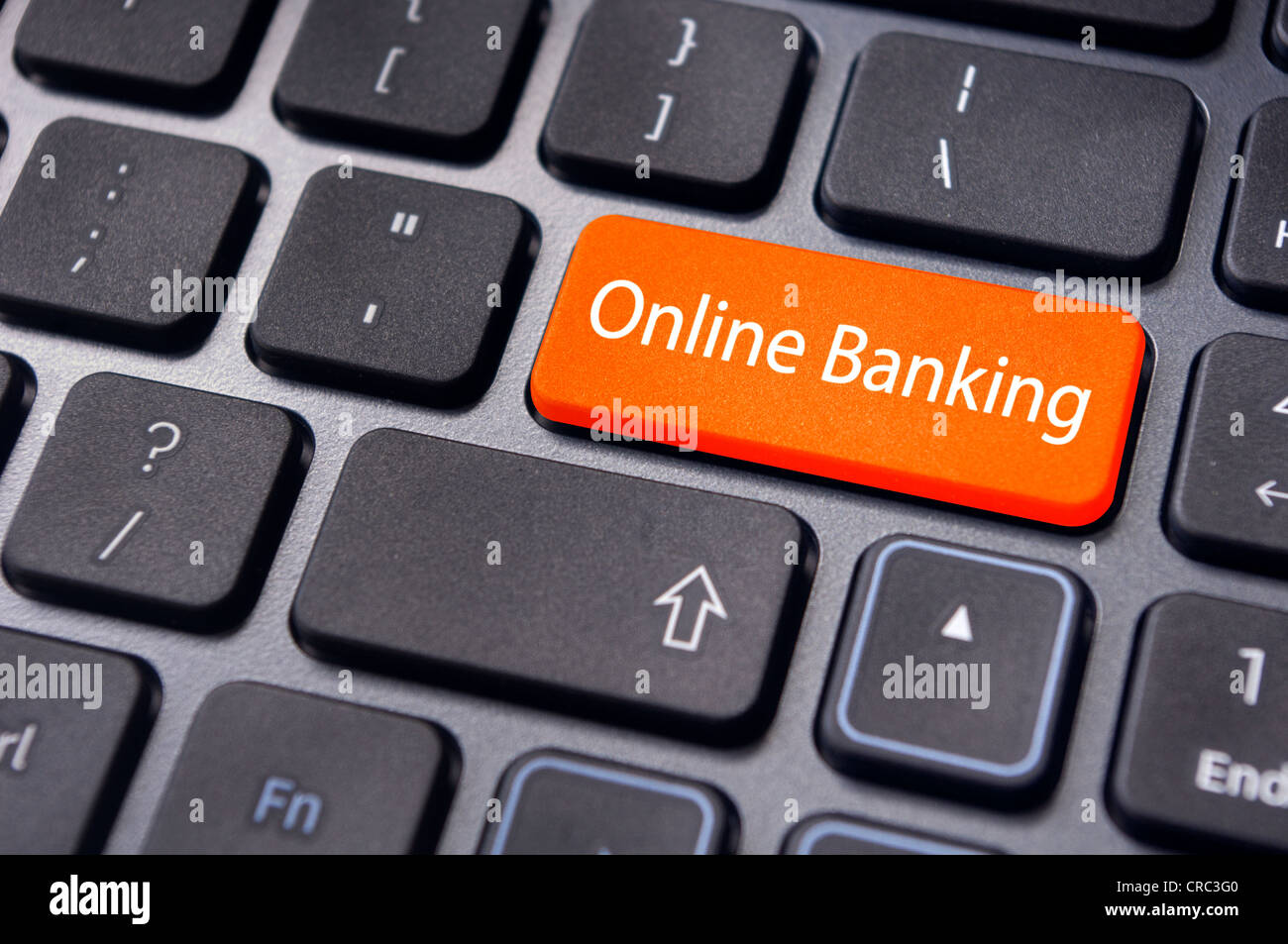 keyboard enter key with message, for online or internet banking concepts. - Stock Image