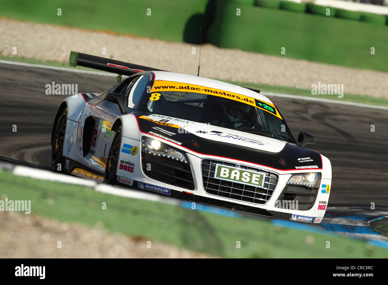Audi R8 GT LMS Race Car In Action At The Hockenheimring Race Track,  Baden Wuerttemberg, Germany, Europe