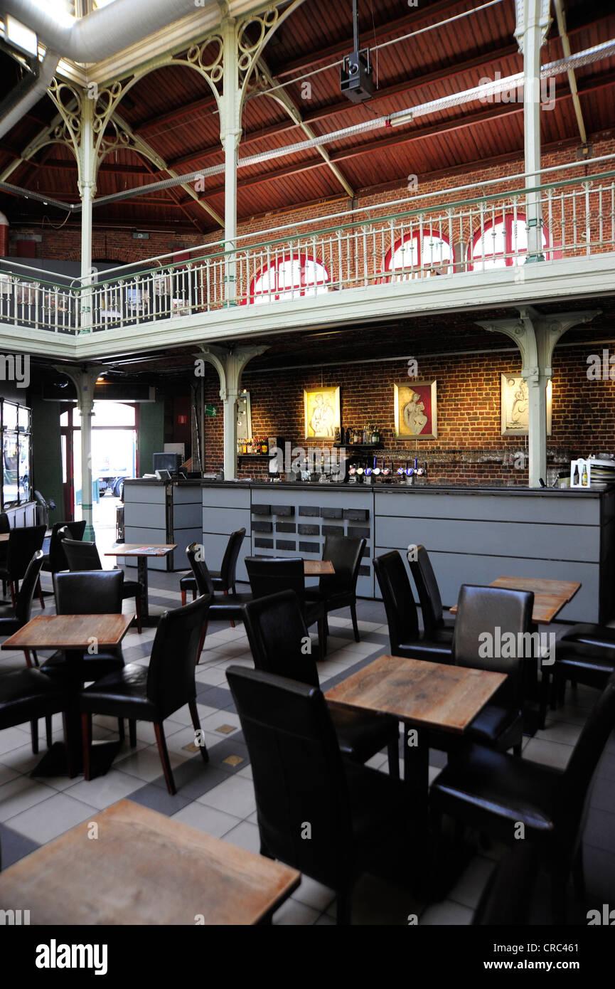 Bar Cafe, interior decoration of the former market hall, Halles ...