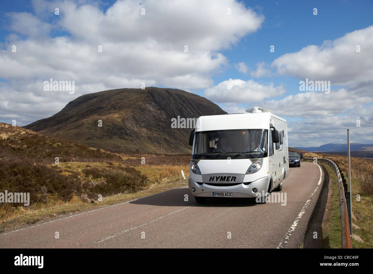 motorhome on the a82 road in glencoe highlands scotland uk - Stock Image