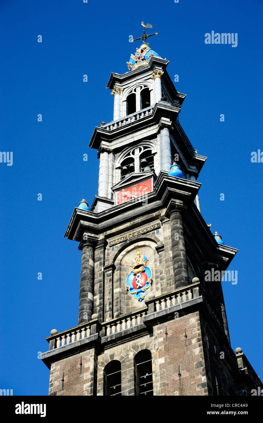 Westerkerk Church in the Jordaan Quarter, Prinsengracht, city centre, , North Holland, the Netherlands, Europe - Stock Image