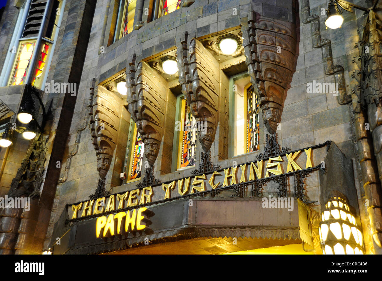 Pathe Tuschinski movie theater, art deco cinema, lighting in the Reguliersbreestraat street, city centre, Amsterdam - Stock Image
