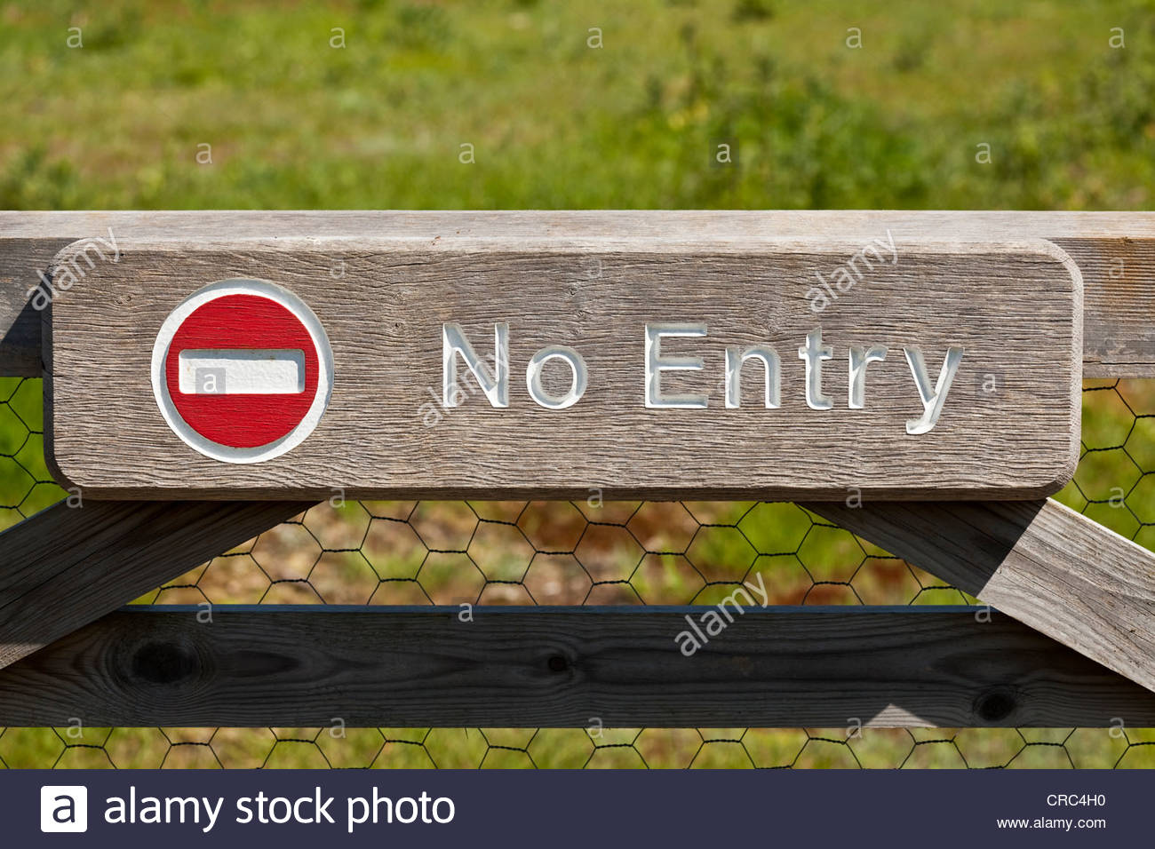 No entry sign on a gate - Stock Image