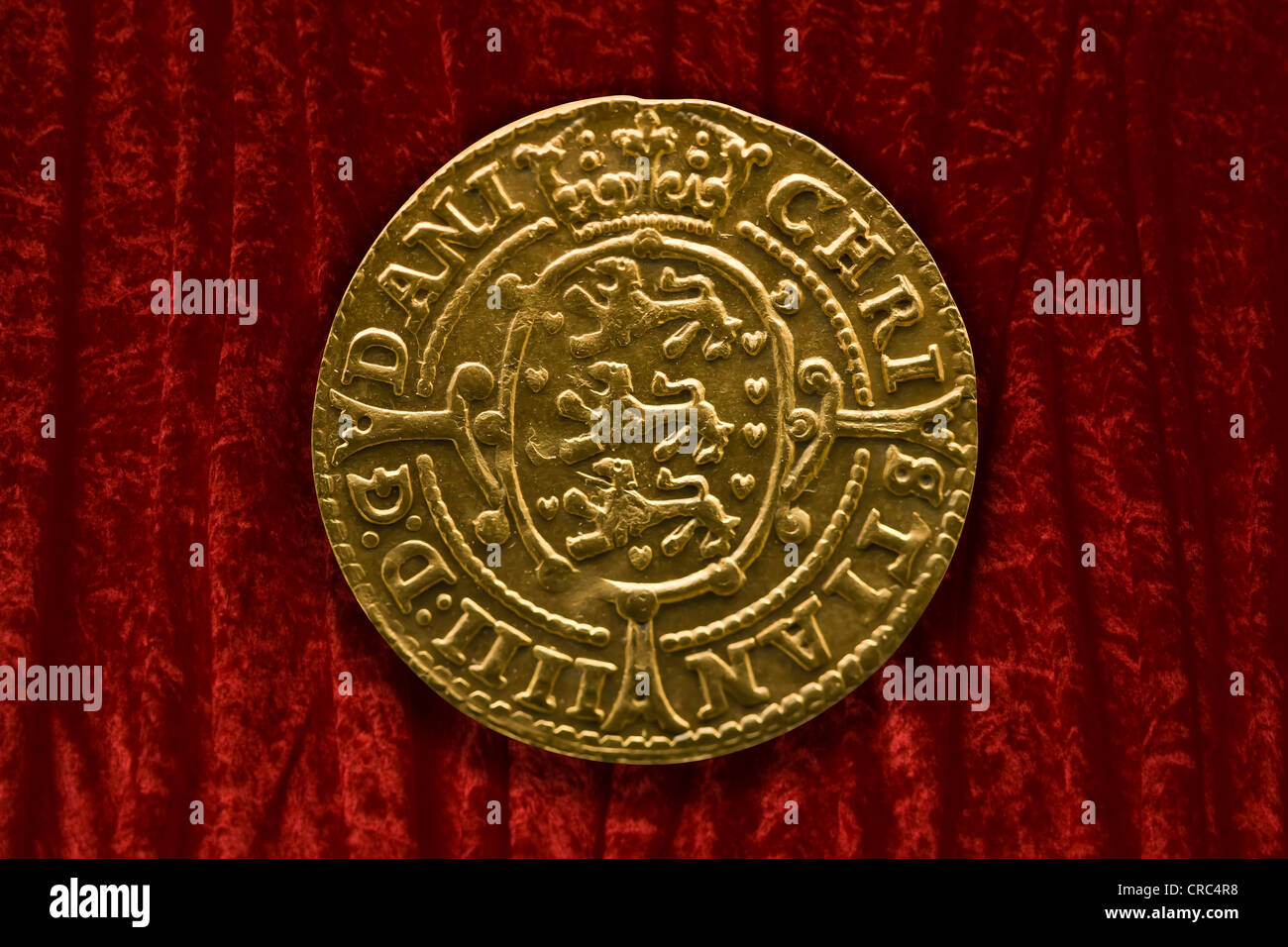 King Christian IV double gold krone coin from 1648 - Stock Image