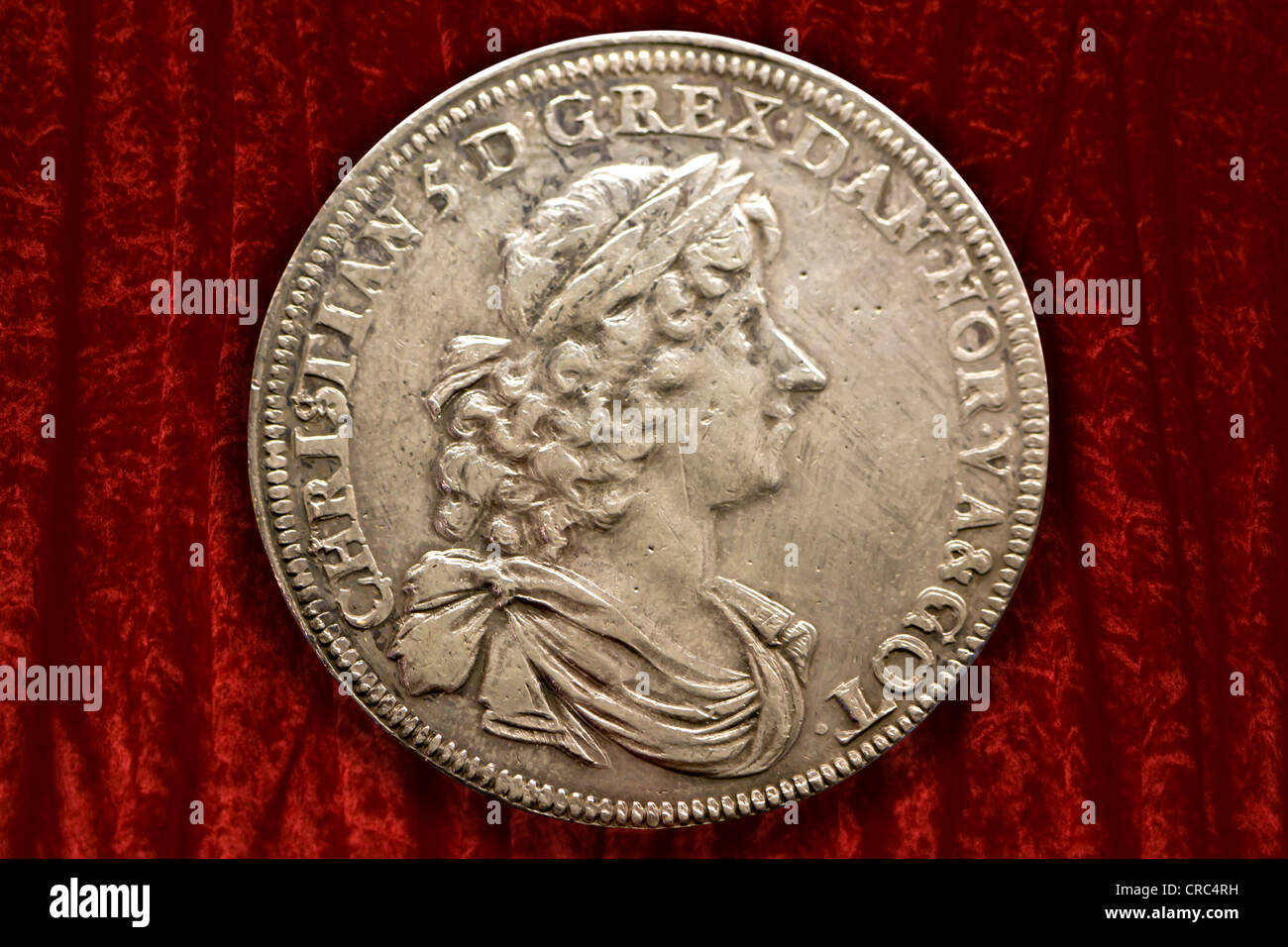 Old Danish daler coin - Stock Image