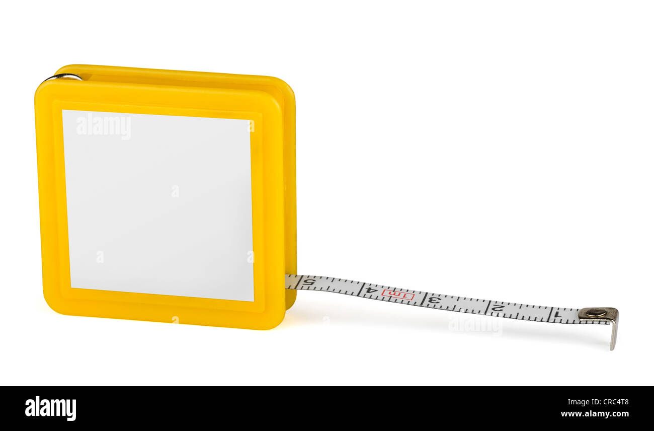 Pocket tape measure with blank label isolated on white - Stock Image