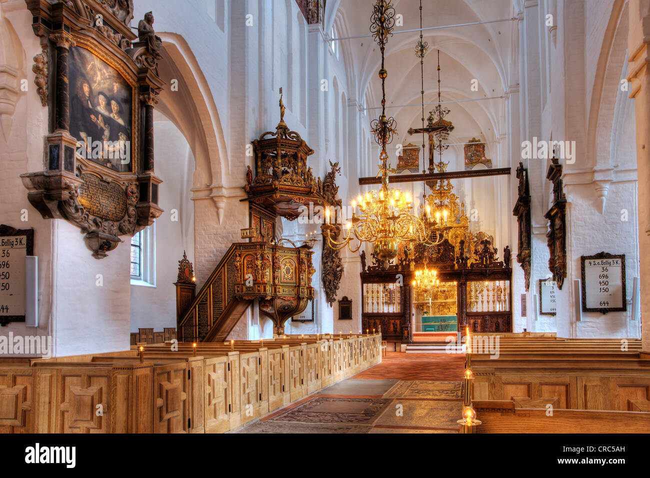 Sct. Olai Domkirke cathedral, interior, Helsingør, Elsinore, Denmark, Europe - Stock Image
