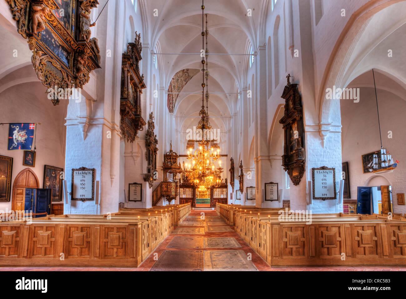Interior, Sct. Olai Domkirke cathedral, Helsingør, Elsinore, Denmark, Europe - Stock Image