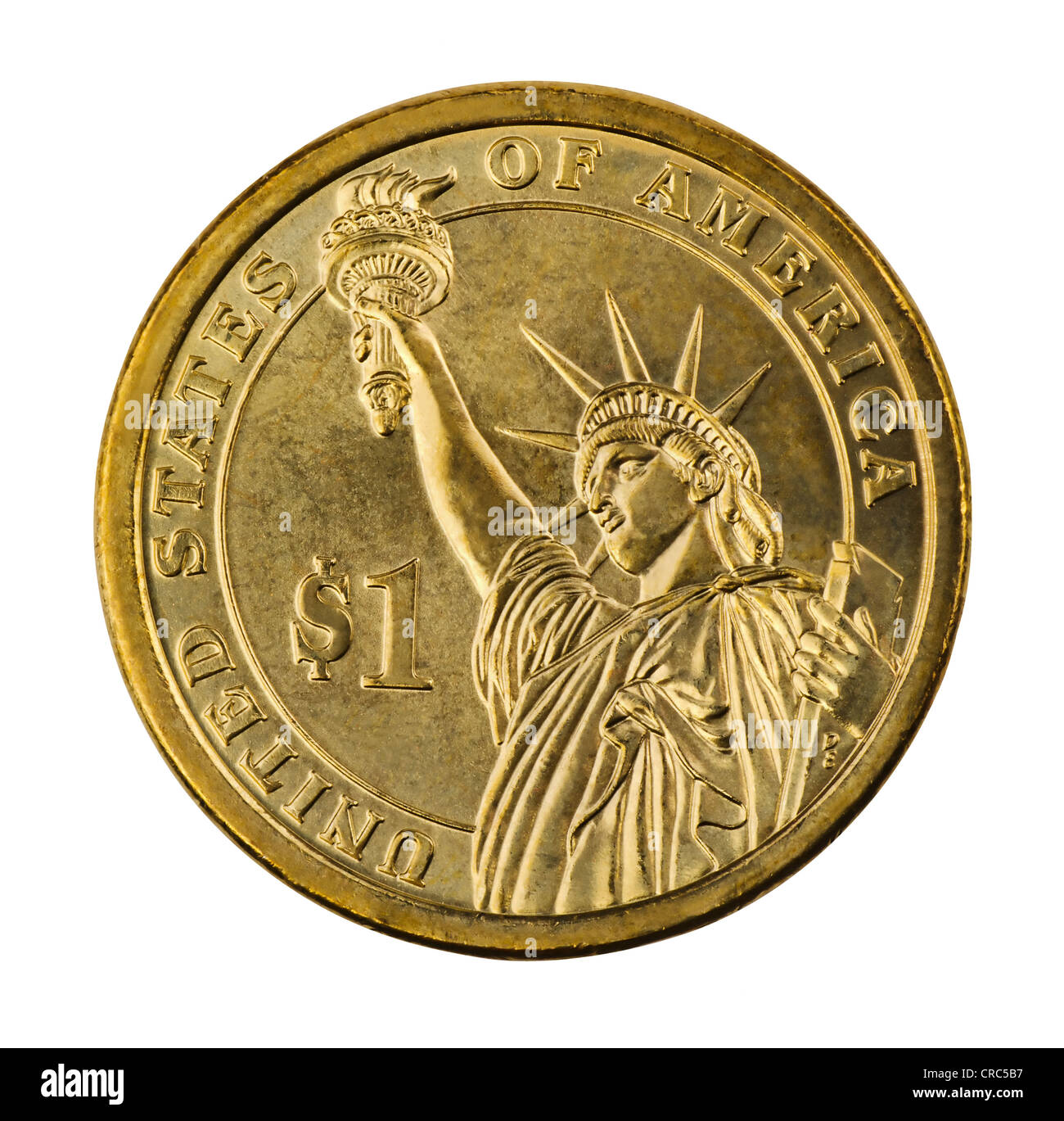 Golden one dollar coin isolated on white - Stock Image
