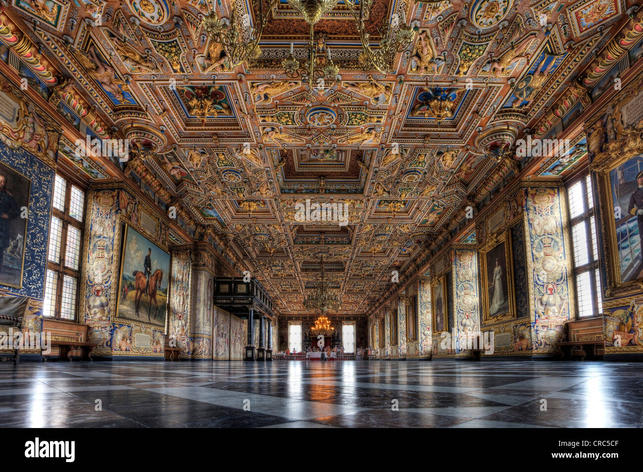The Great Hall at Frederiksborg Castle, Hillerød, Denmark, Europe - Stock Image
