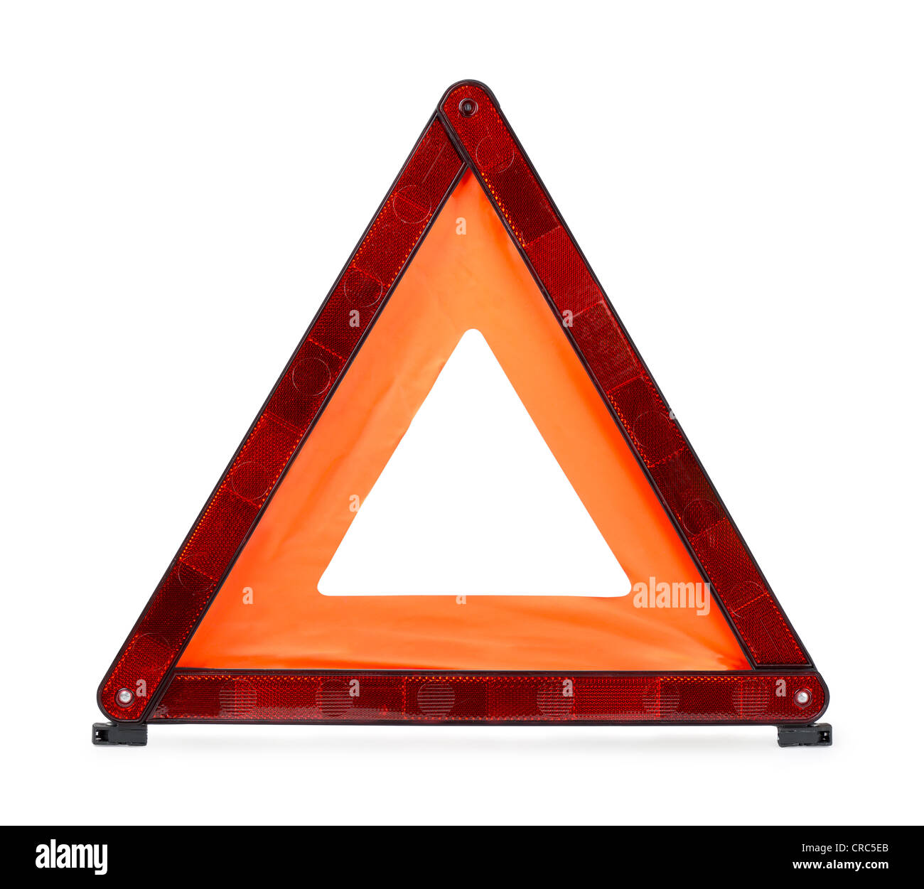 Red reflecting traffic warning triangle isolated on white - Stock Image