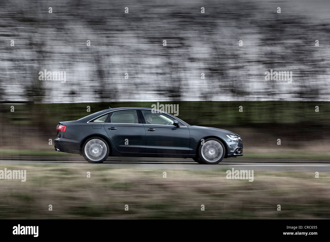 Audi A6 Quattro. driving on a British country road Stock Photo