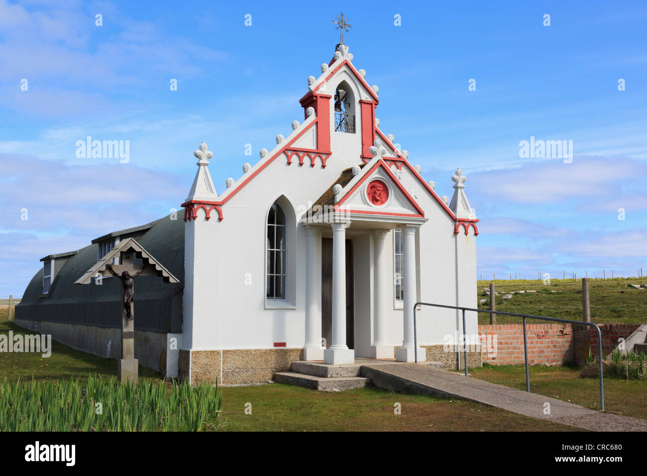 Italian Chapel built from 2 Nissen huts by Italian prisoners of world war II on Lamb Holm, Orkney Islands, Scotland, - Stock Image