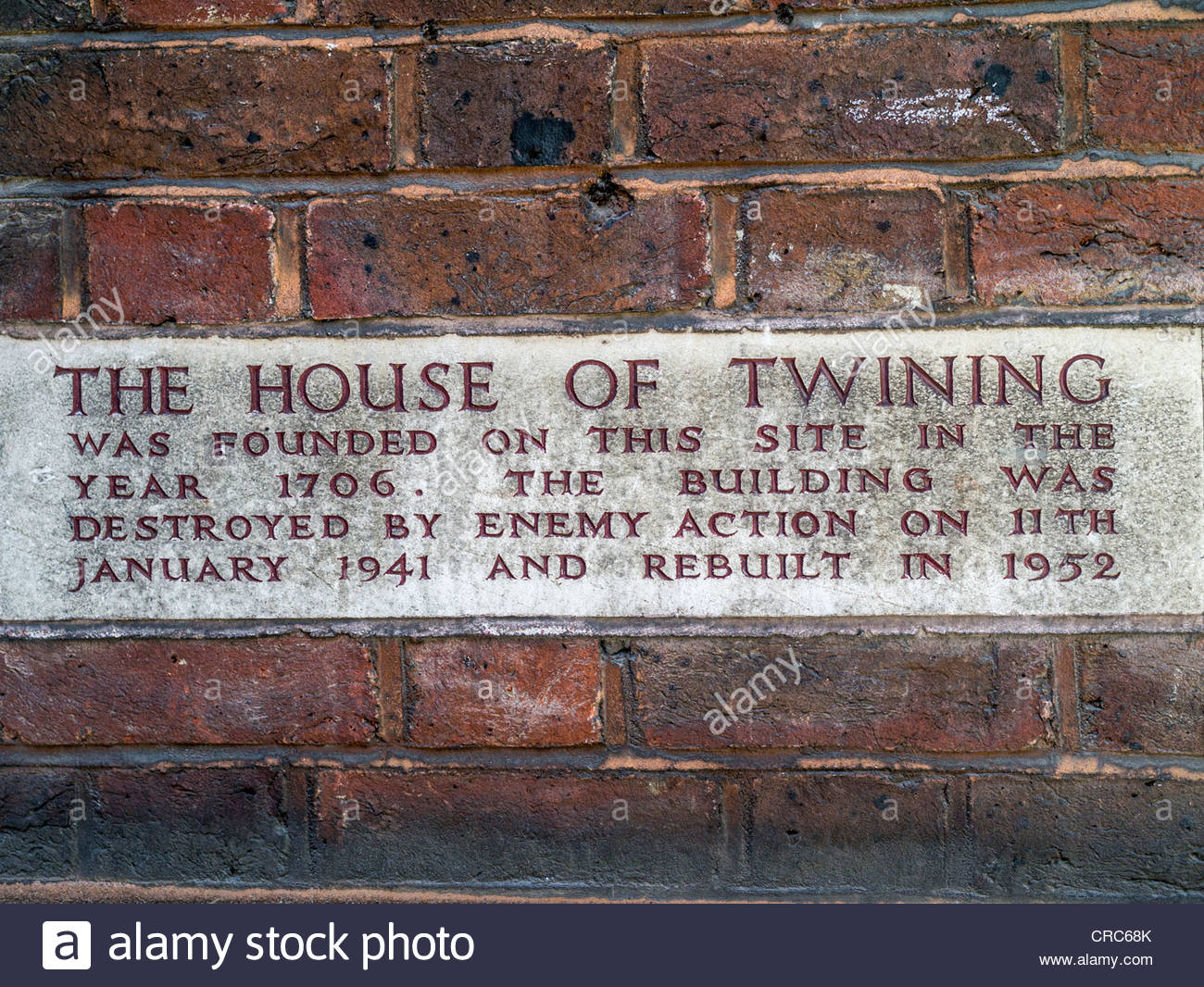 Wall sign marking the location of 'The House of Twining', Fleet St, London, UK - Stock Image