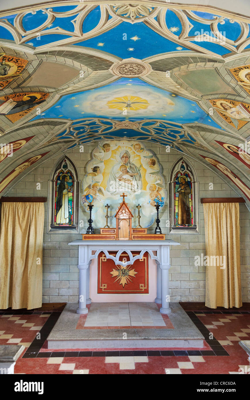 Italian Chapel ornate interior built from 2 Nissen huts by Italian prisoners of world war II on Lamb Holm, Orkney, - Stock Image