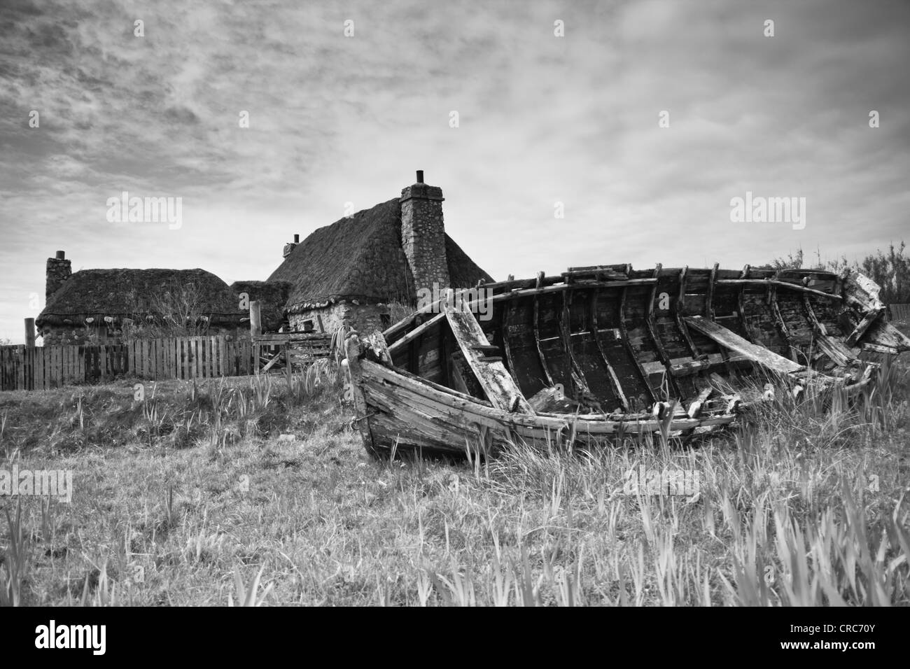 Ship abandoned in a field (Outer Hebrides) - Stock Image