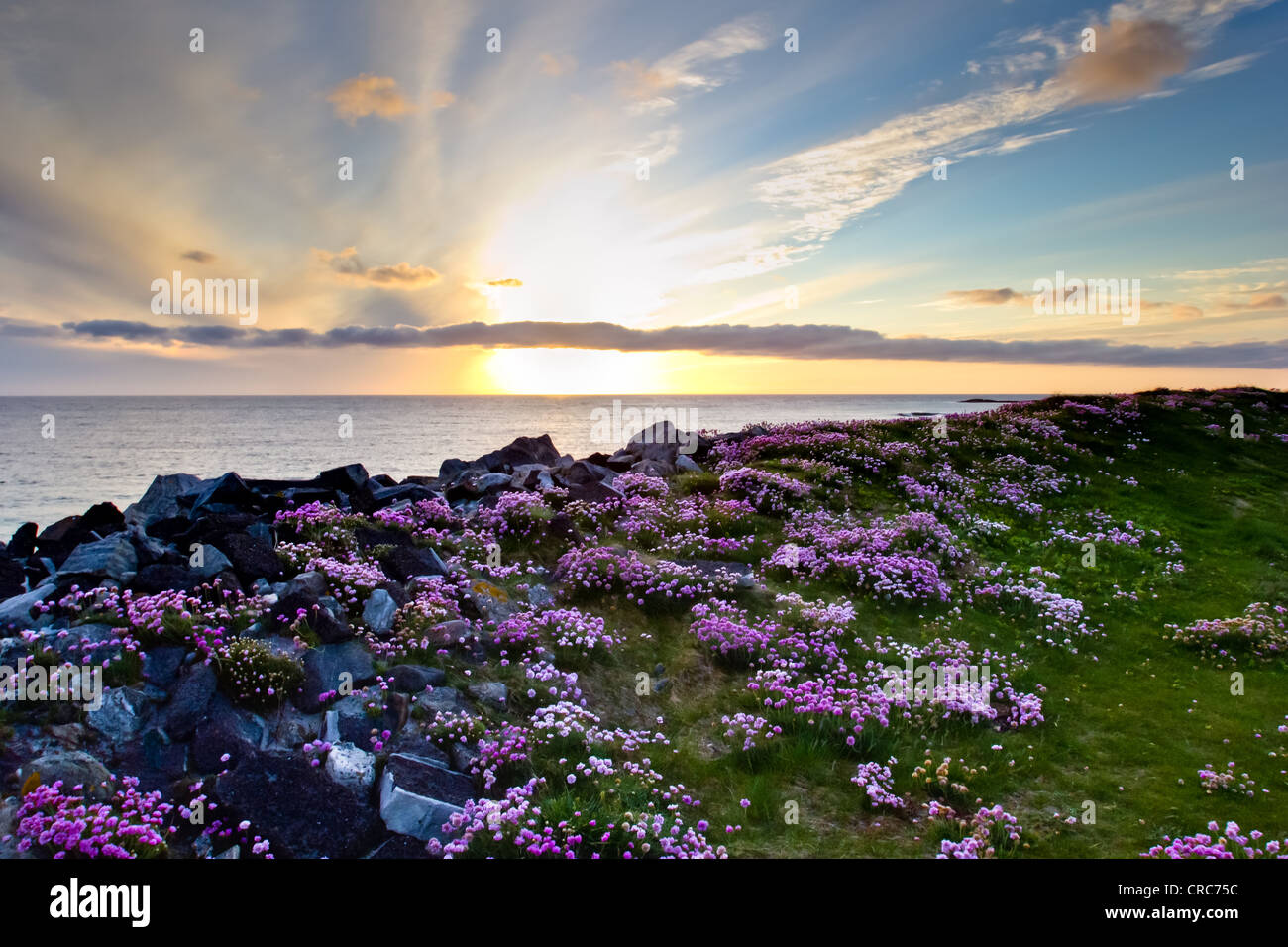 Sunset at Tangasdale (Outer Hebrides) - Stock Image