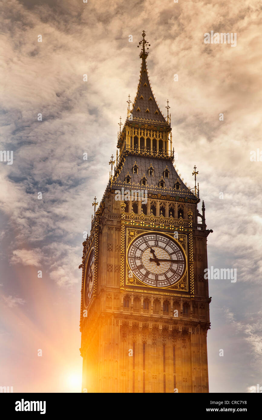Big Ben clock tower in cloudy sky - Stock Image