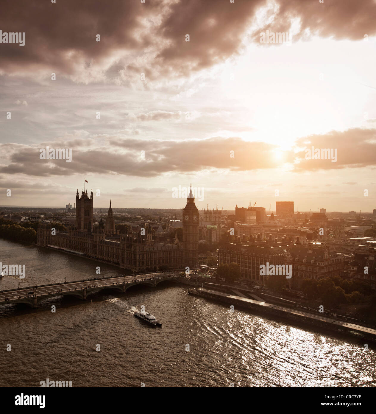 Aerial view of Westminster in London - Stock Image