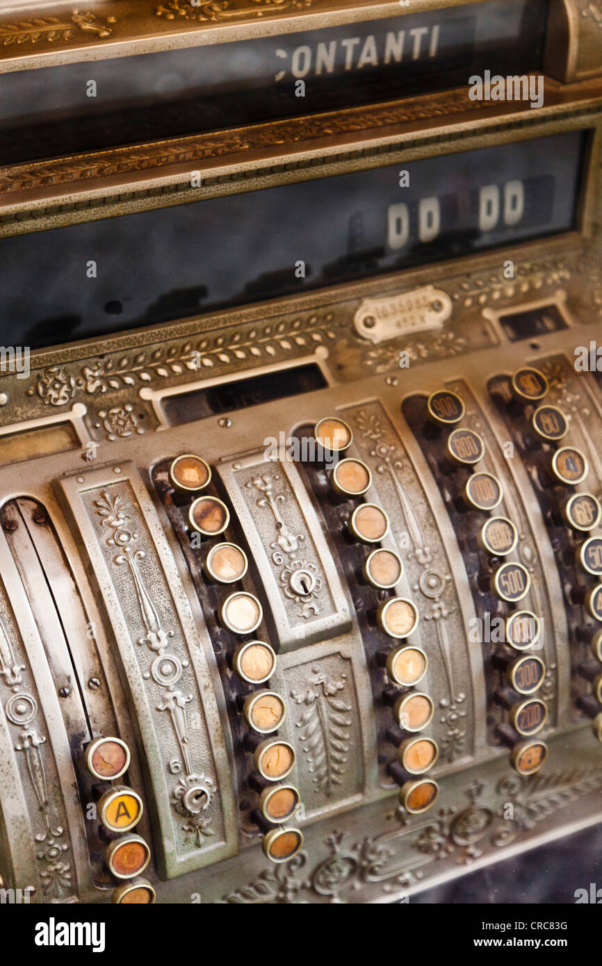 Close up of antique cash register - Stock Image