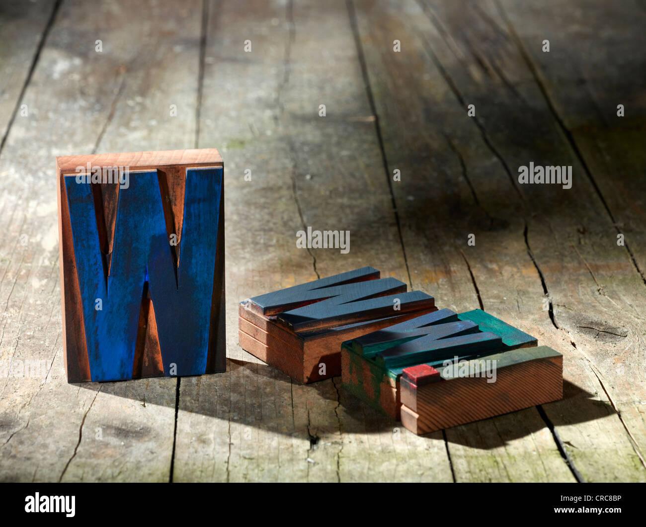 Wooden blocks spelling www. - Stock Image