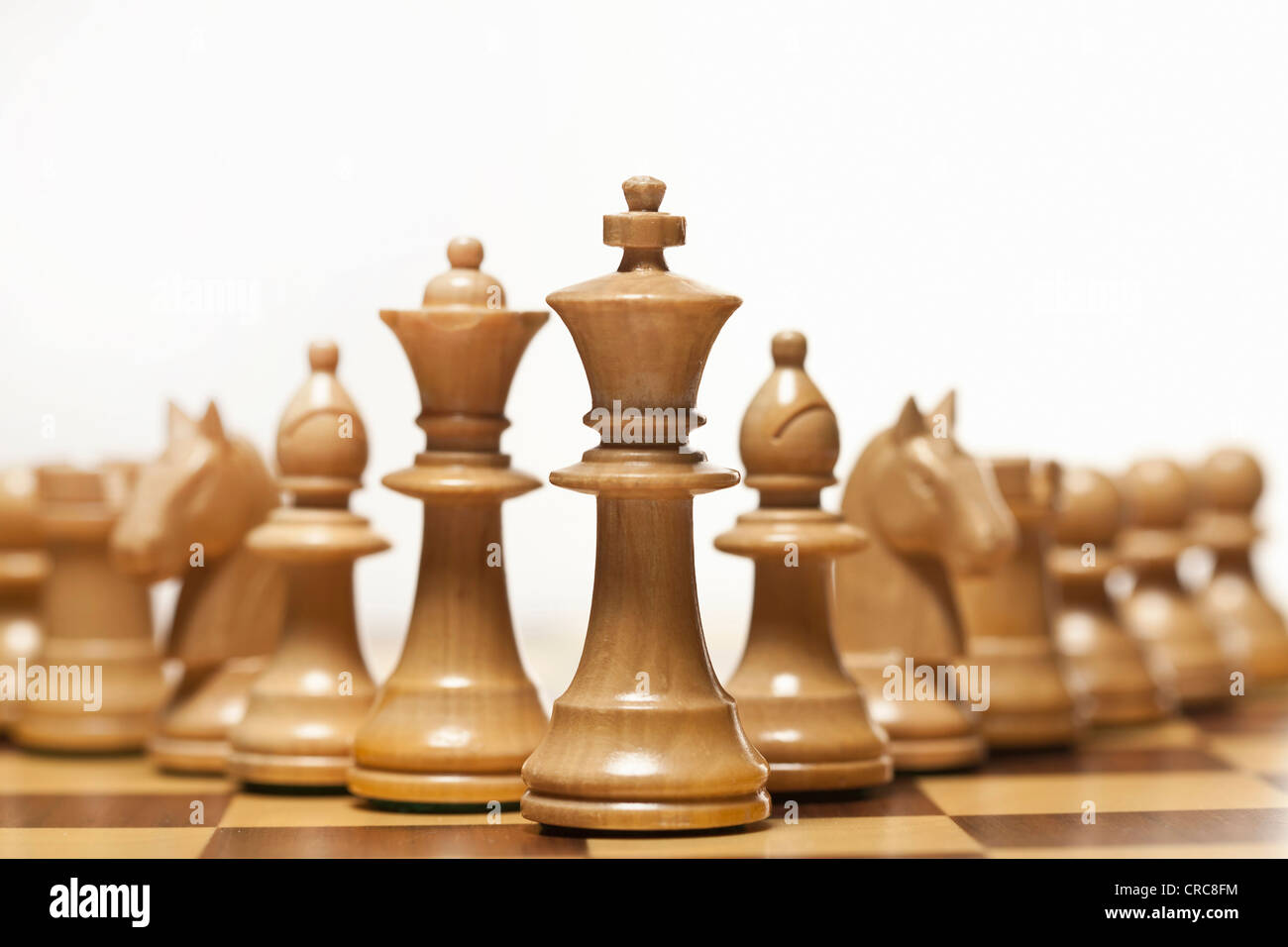 White chess set on board - Stock Image