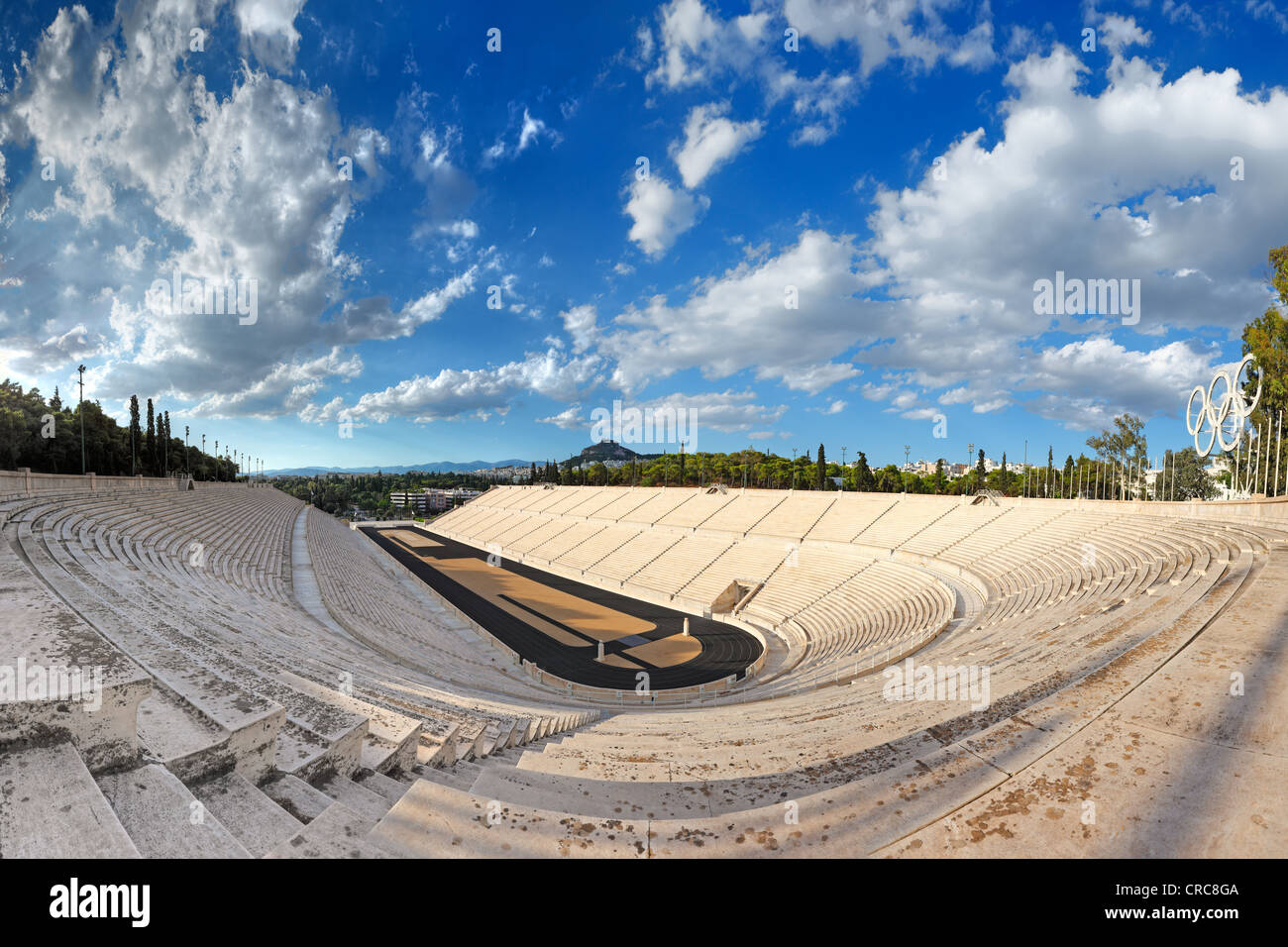 Panathenaic Stadium (329 B.C.) in Athens, hosted the first modern Olympic Games in Greece. - Stock Image