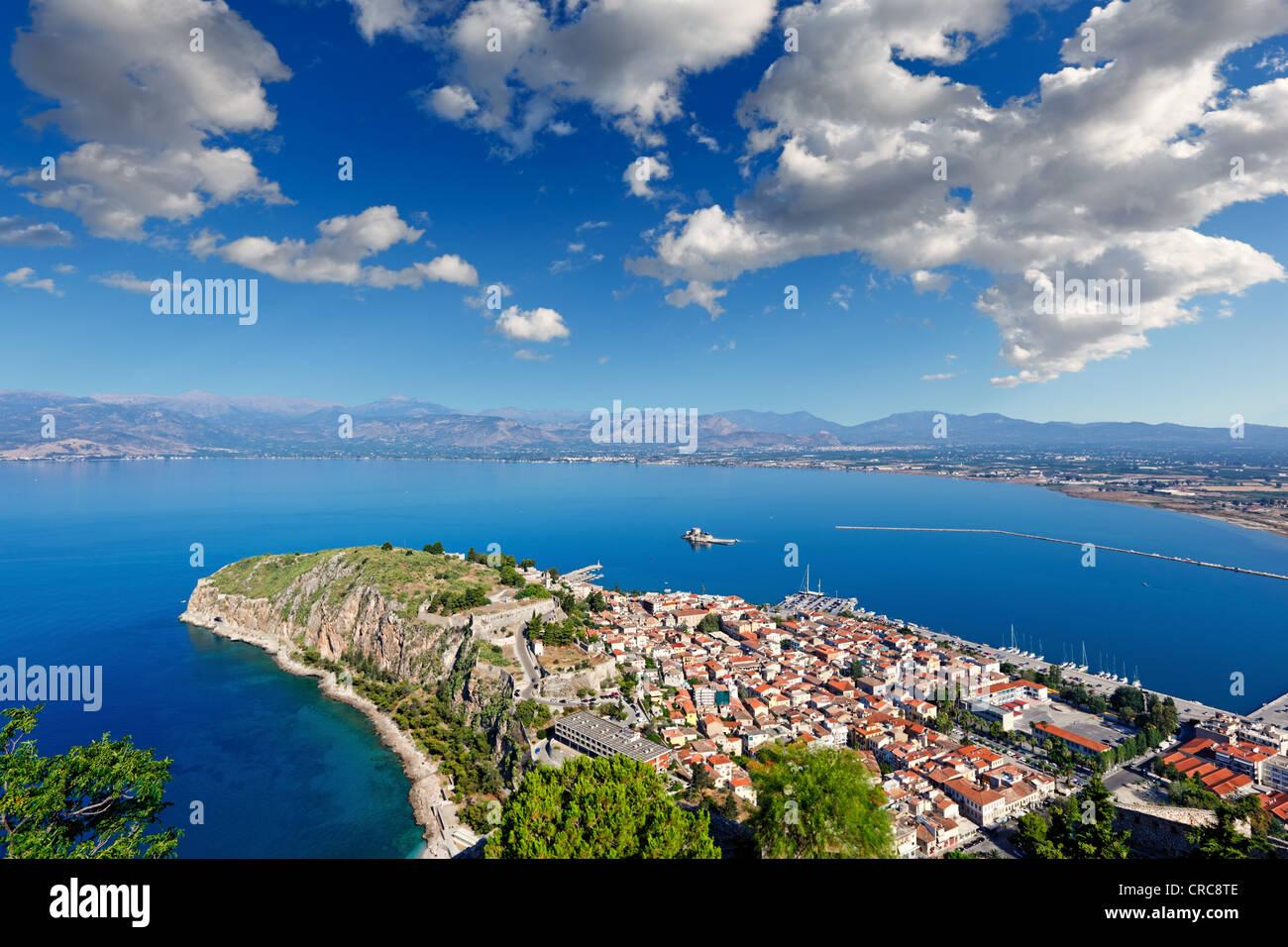 Acronafplia in the bay of Nafplio, Greece Stock Photo