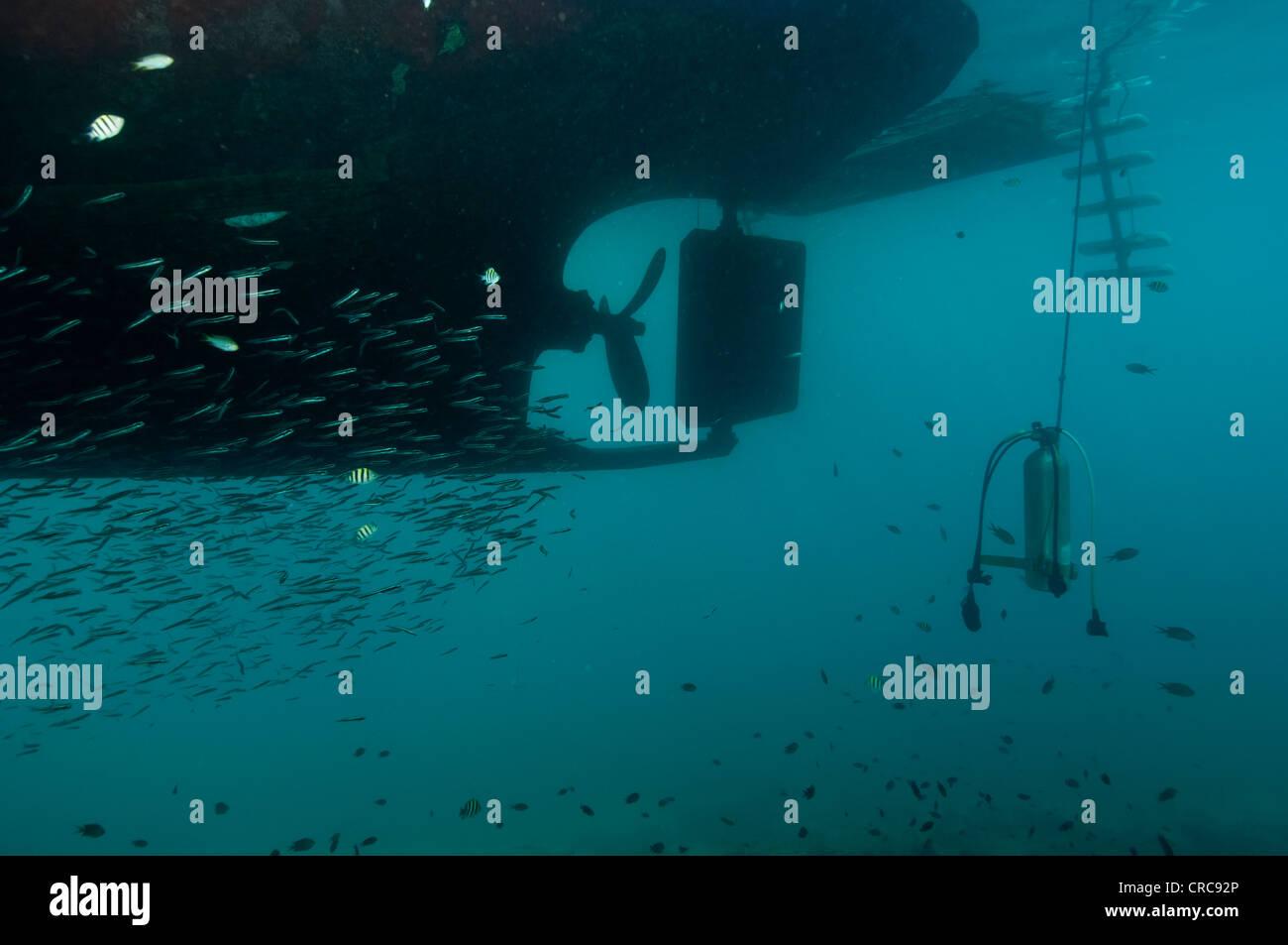 underwater shot of dive boat propeller with scuba tank hanging below - Stock Image