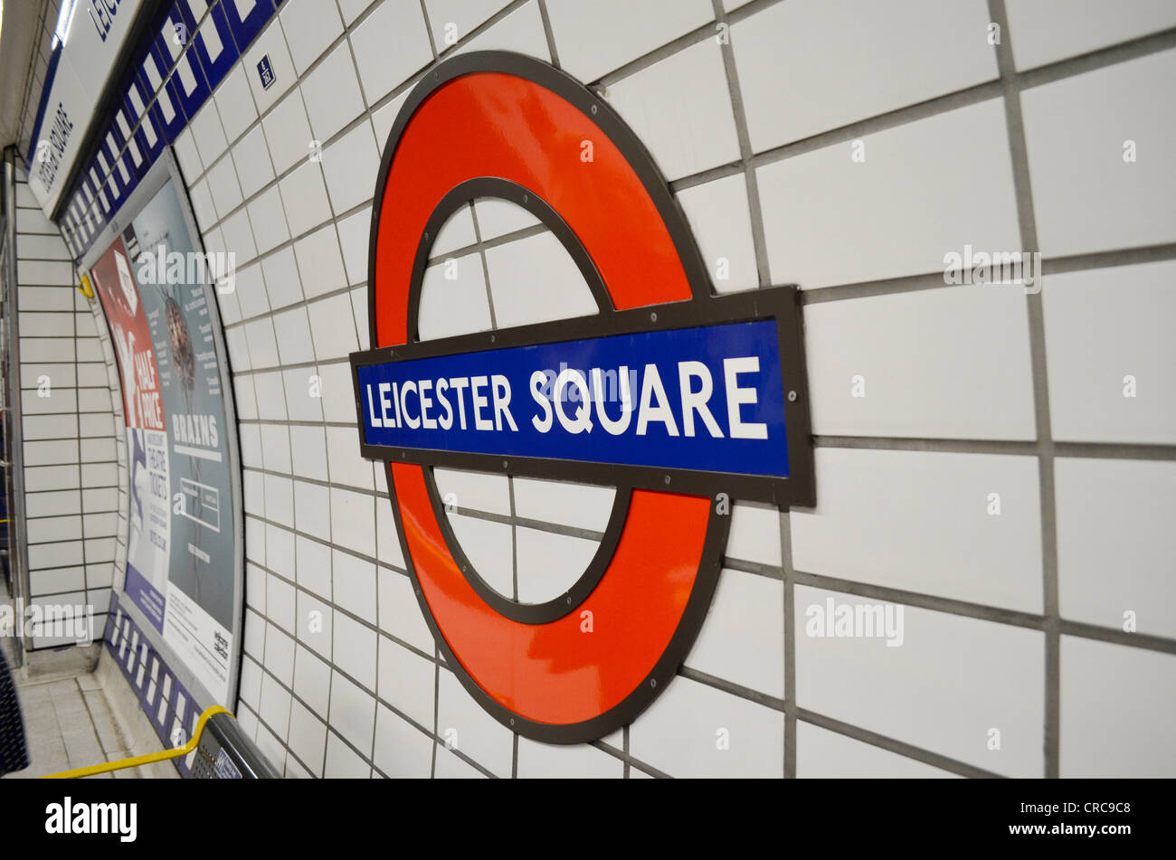 Leicester square underground station sign - Stock Image