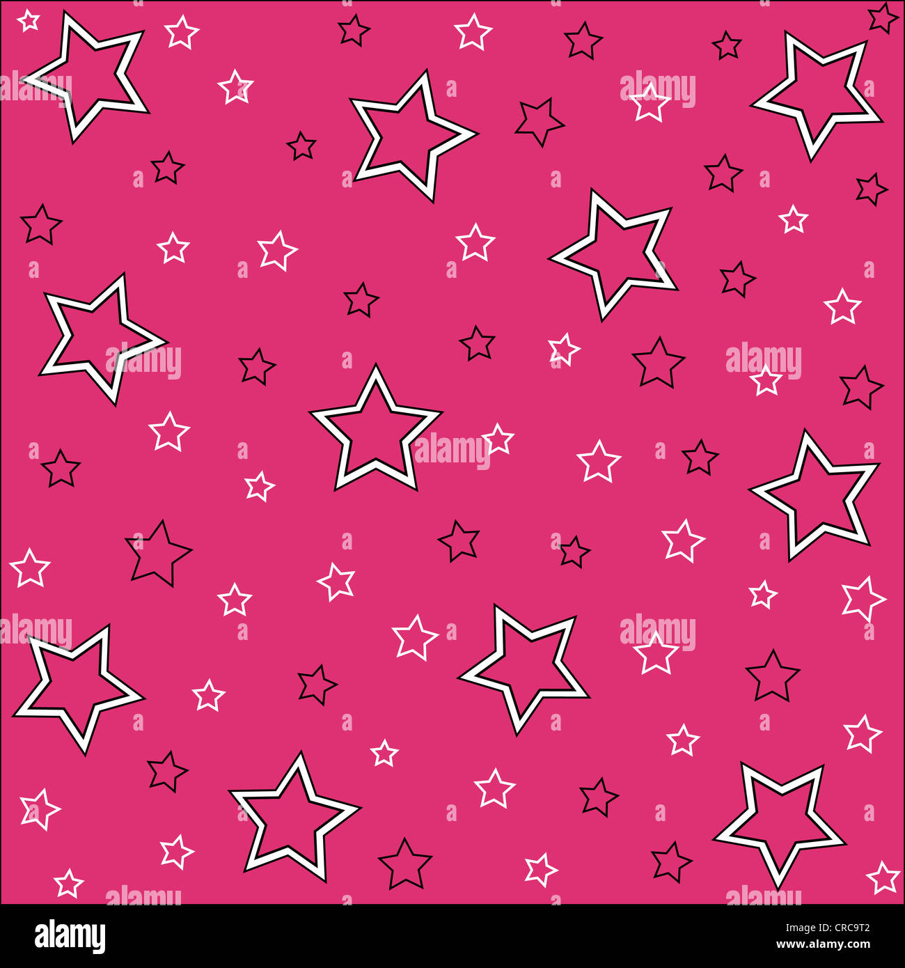 Seamless stars pattern in white, black and pink Stock Photo