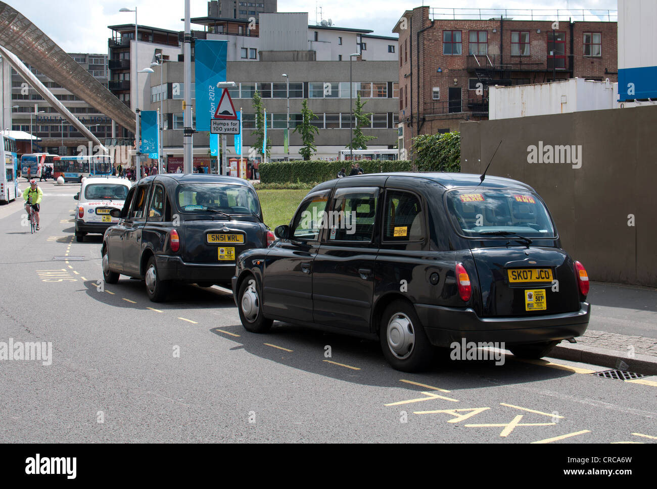 Taxis in city centre, Coventry, UK - Stock Image