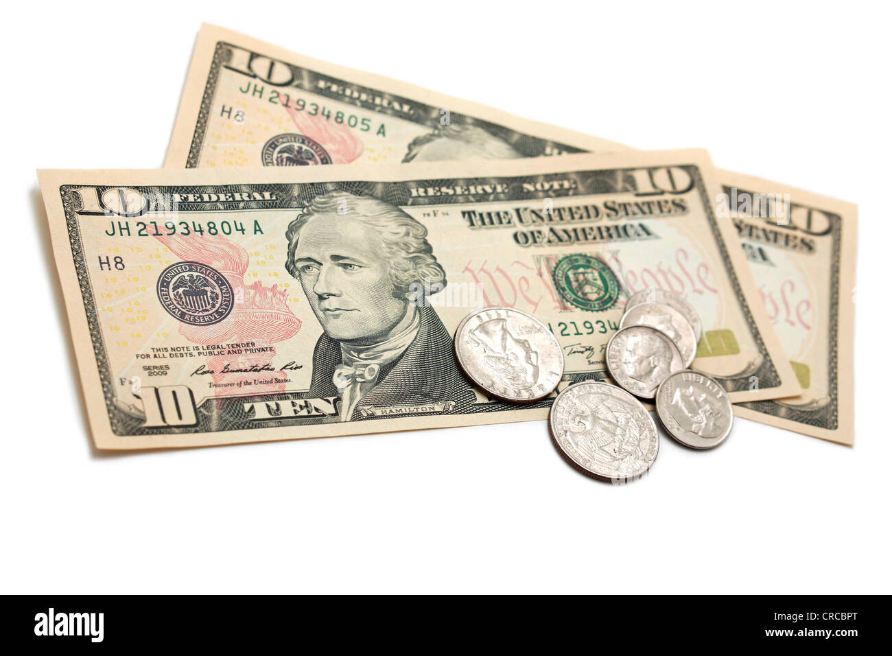 Dollar Bills and Coins, US Currency Dollars - Stock Image