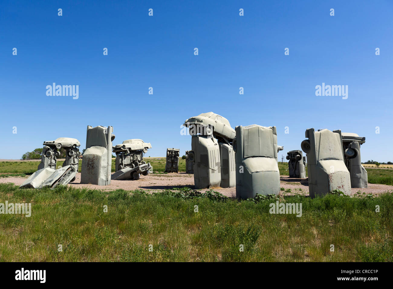 Carhenge, an artwork made from old scrapped cars, Alliance, Nebraska, USA - Stock Image