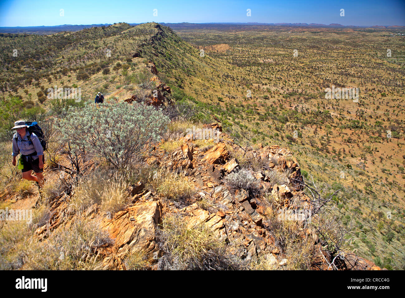 Bushwalkers on Euro Ridge on the Larapinta Trail, running along the length of the West MacDonnell Ranges - Stock Image