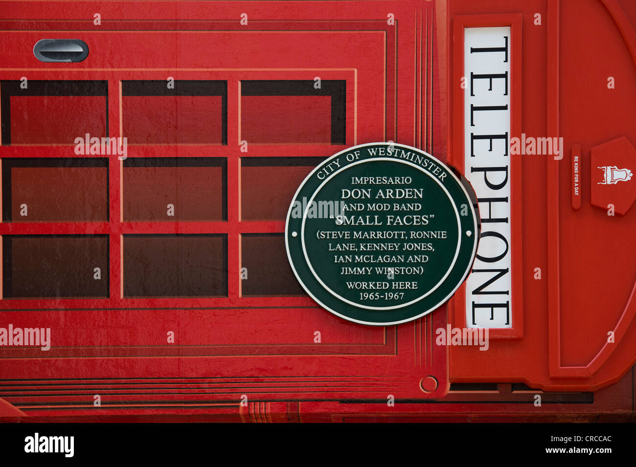 Don Arden / Small Faces plaque / Red telephone box Puma shop frontage. Carnaby Street, London, England - Stock Image