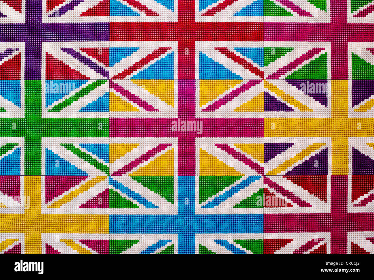 Colourful Union Jack flags made from M & Ms.   M & M store, Leicester square, London, England - Stock Image