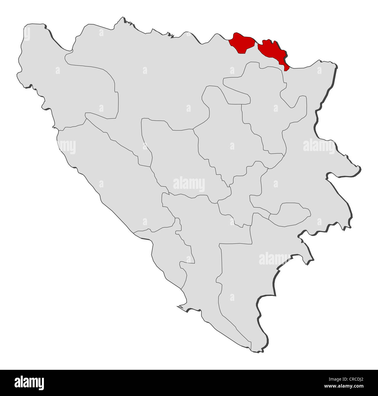 Political map of Bosnia and Herzegovina with the several ...
