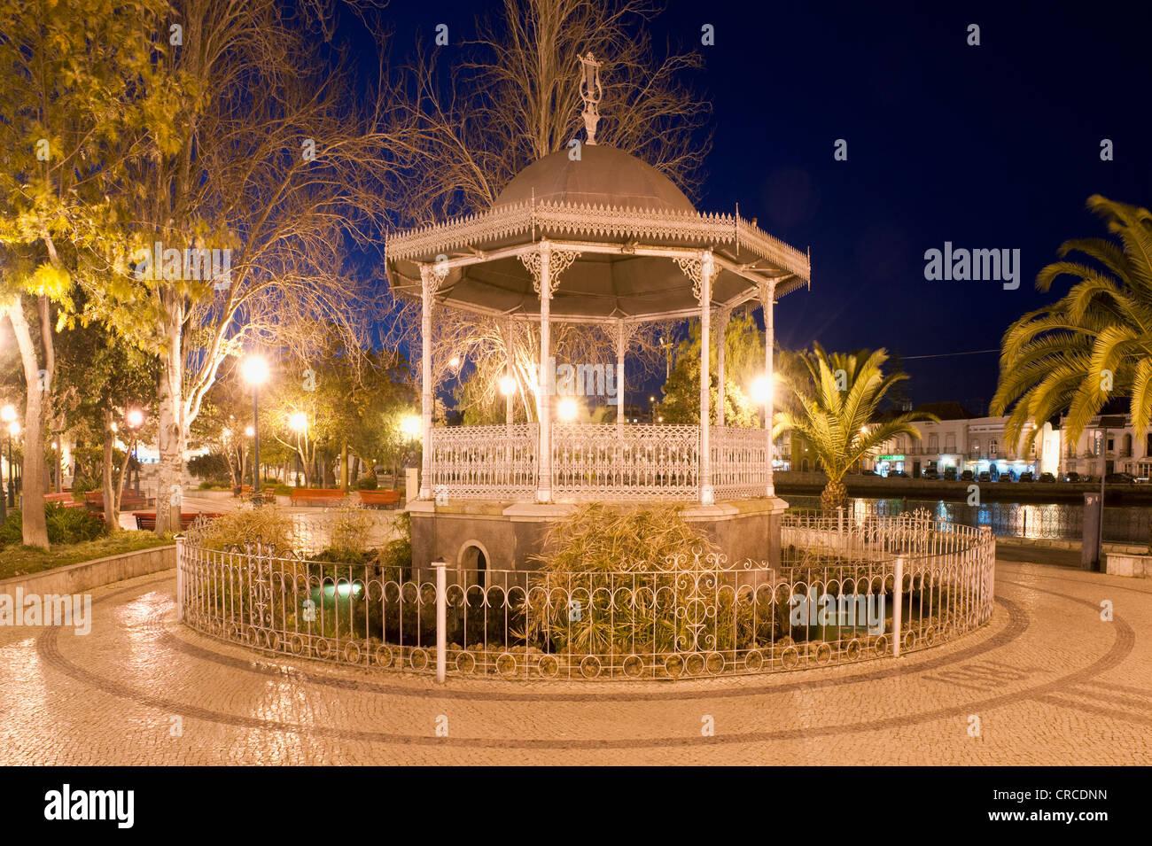 Bandstand at sunset, Tavira, Algarve, Portugal - Stock Image