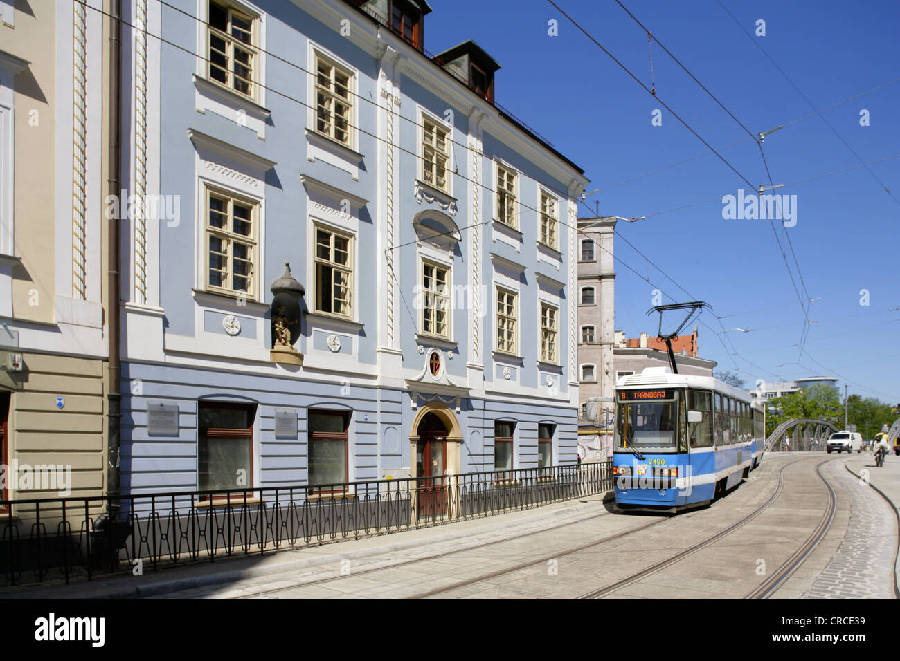 Tram in the Wyspa Piasek district, Wroclaw (Breslau), Poland. Stock Photo
