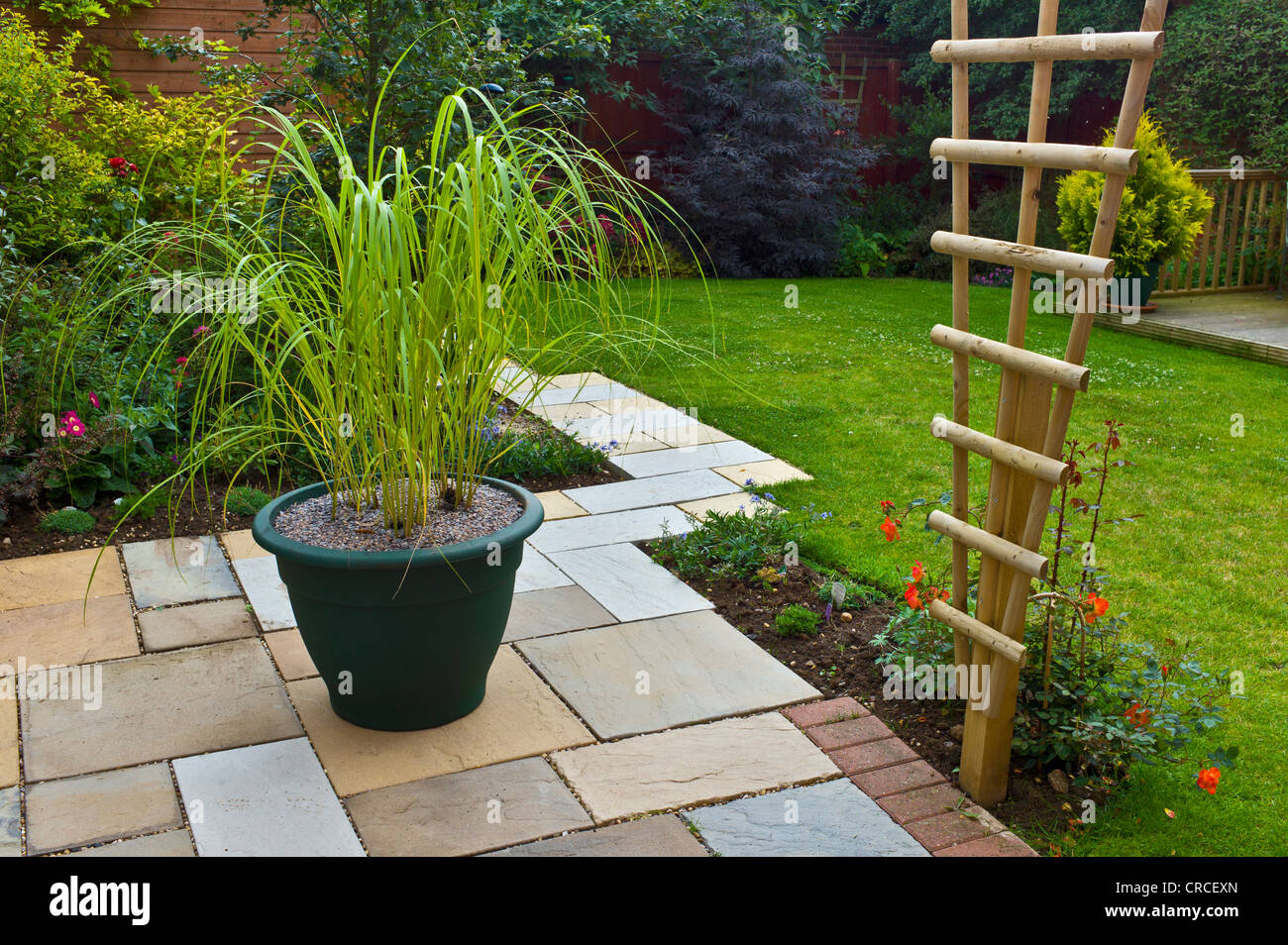 Small garden patio with large pot of ornamental grasses stock photo small garden patio with large pot of ornamental grasses workwithnaturefo