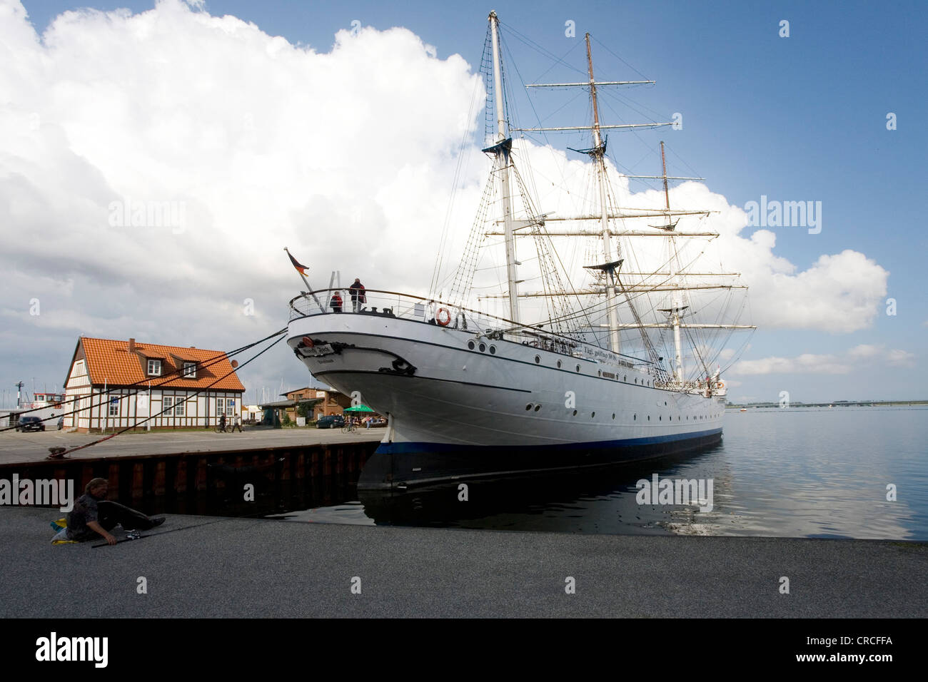 Tall ship Gorch Fock moored in the harbour, Hanseatic city of Stralsund, Mecklenburg-Western Pomerania, Baltic Sea Stock Photo