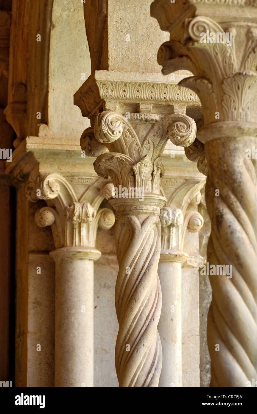 Columns With Ornate Capitals In The Cloister Of Gothic Basilica Cistercian Monastery Fossanova Abbey Near Priverno