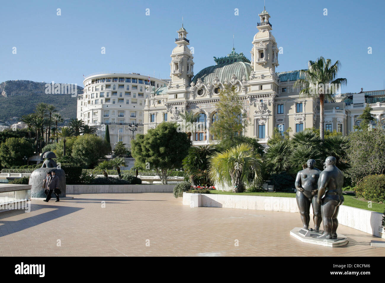 Opera, Salle Garnier, Hotel de Paris on the left, Monte Carlo, Principality of Monaco, Europe - Stock Image