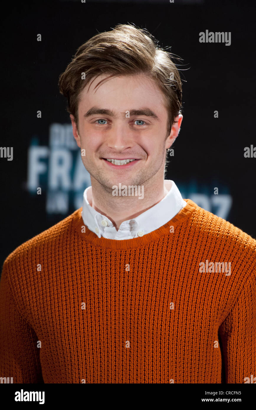 British actor Daniel Radcliffe at a press conference in Munich, Bavaria, Germany, Europe - Stock Image