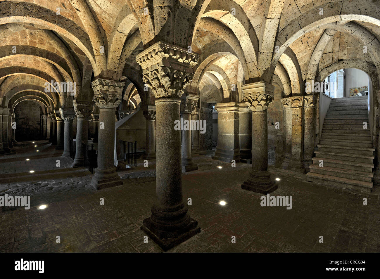Column capitals in the underground pillared hall of the pagan crypt, 10th century, Cathedral of St. Sepulchre, Basilica - Stock Image